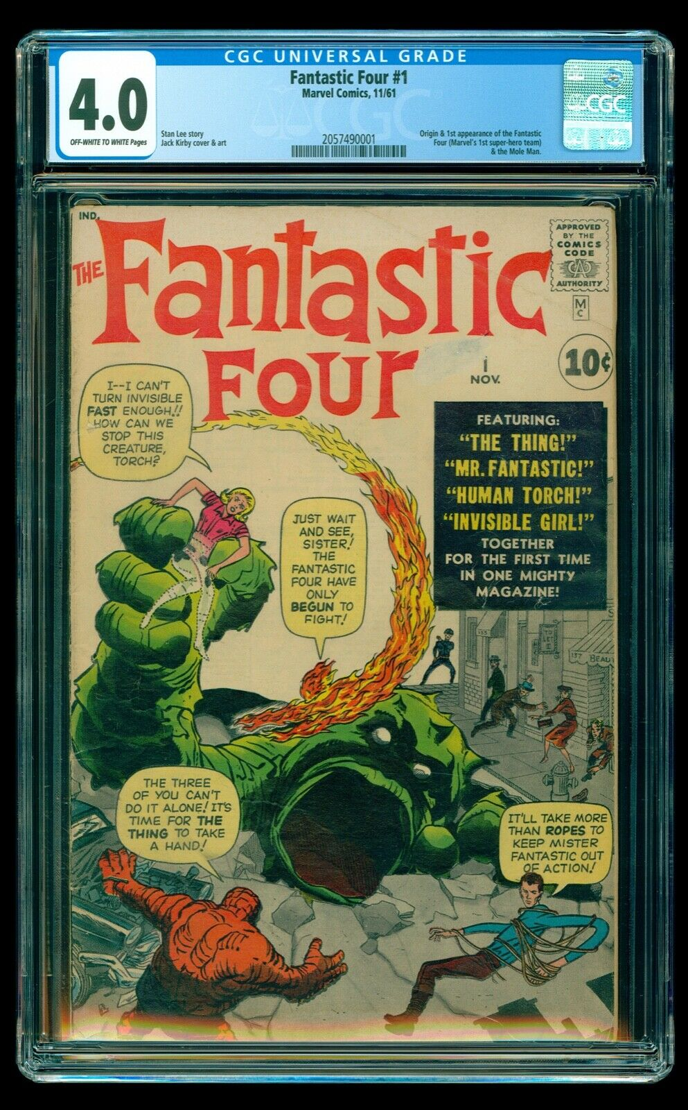 Fantastic Four #1 (Marvel, 11/61) – CGC 4.0 OW/W – 1st Fantastic Four