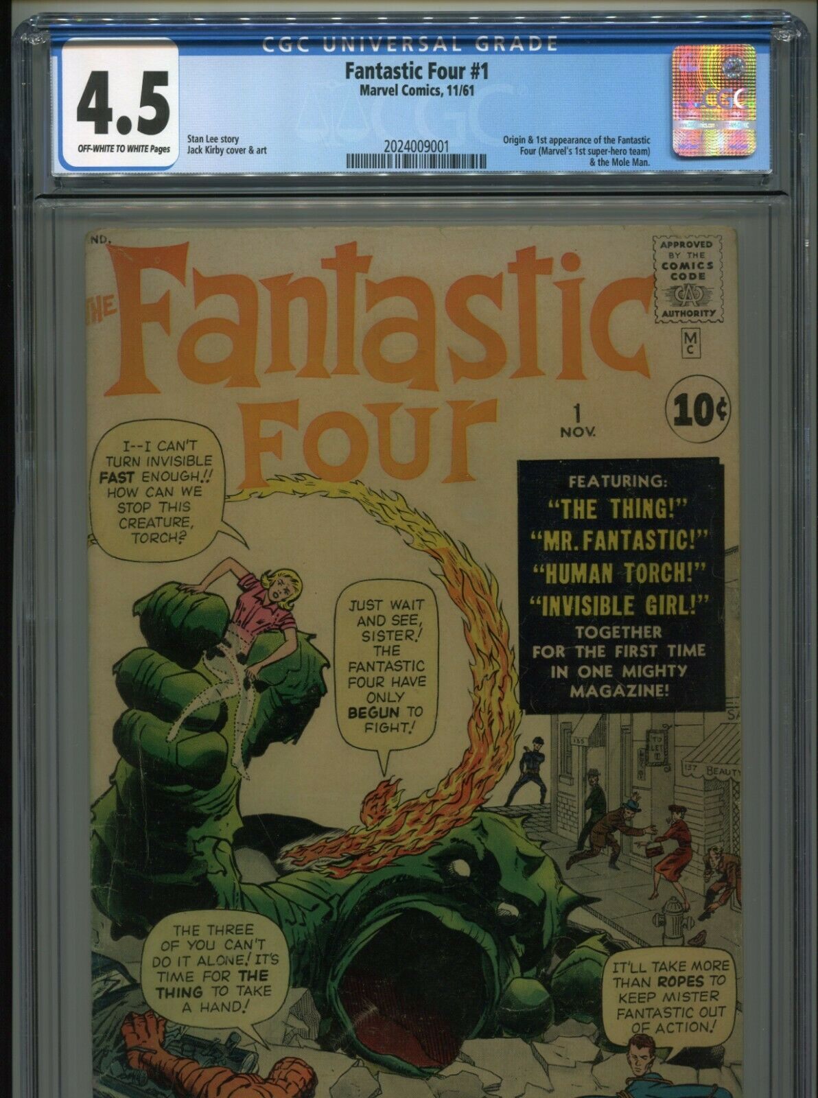 1961 MARVEL FANTASTIC FOUR #1 1ST APPEARANCE FANTASTIC FOUR CGC 4.5 OW-W
