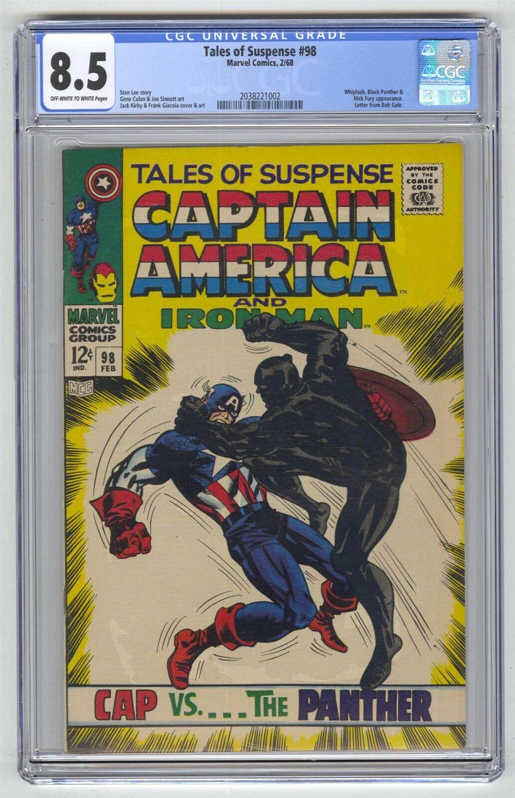 Tales of Suspense #98 CGC 8.5 HIGH GRADE Marvel Comic KEY Black Panther vs Cap