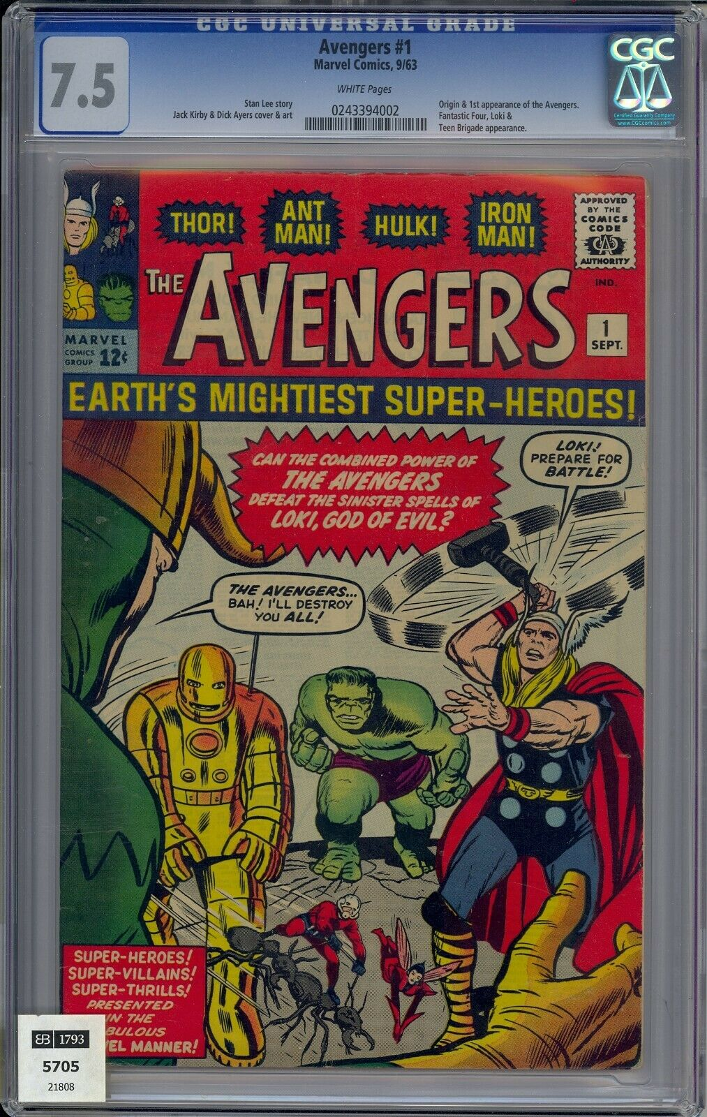 AVENGERS 1 CGC 7.5 WHITE PAGES 1963 1ST APPEARANCE NEVER PRESSED LOOKS 8.0+