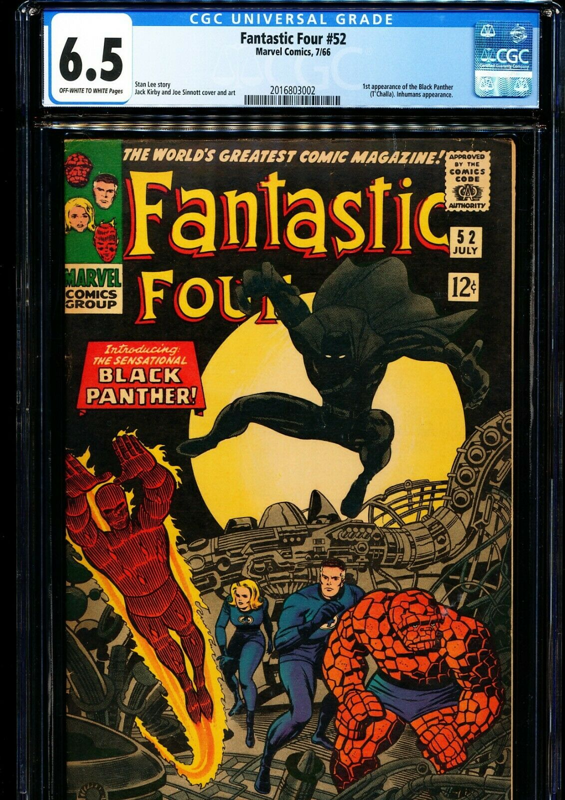 FANTASTIC FOUR #52 CGC 6.5 1st Black Panther (T'Challa)