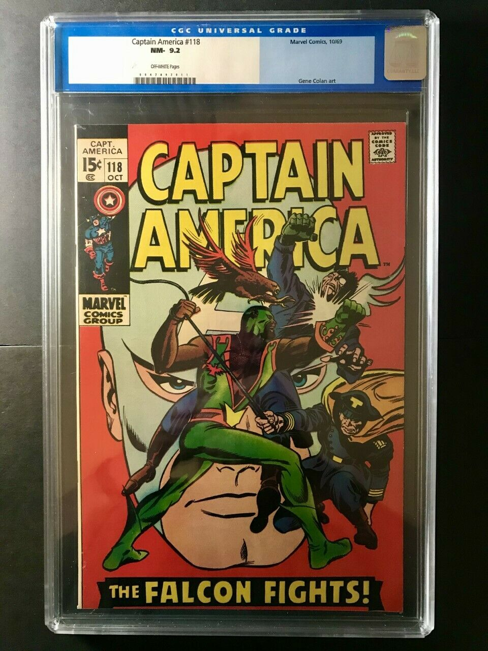 Captain America 118 CGC 9.2 (Off-White Pages) 2nd Appearance of the Falcon 1969