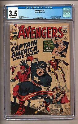 Avengers #4 (CGC 3.5) O/W p; 1st Silver Age app. Captain America; Kirby (c#26413