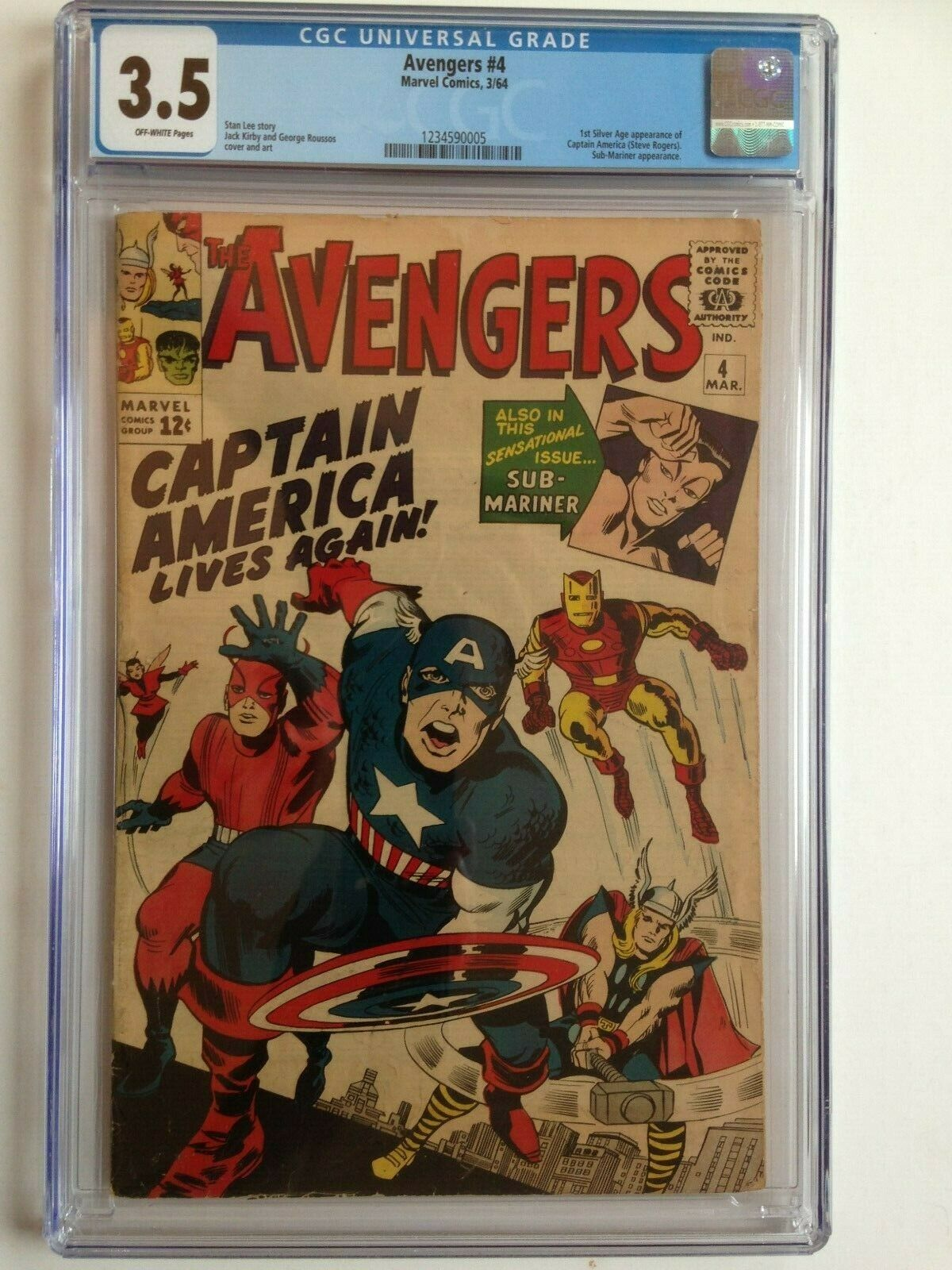 Avengers #4, CGC 3.5, UNRESTORED, CASE INTACT, Shipping $50 for 1, 2 or 3 books