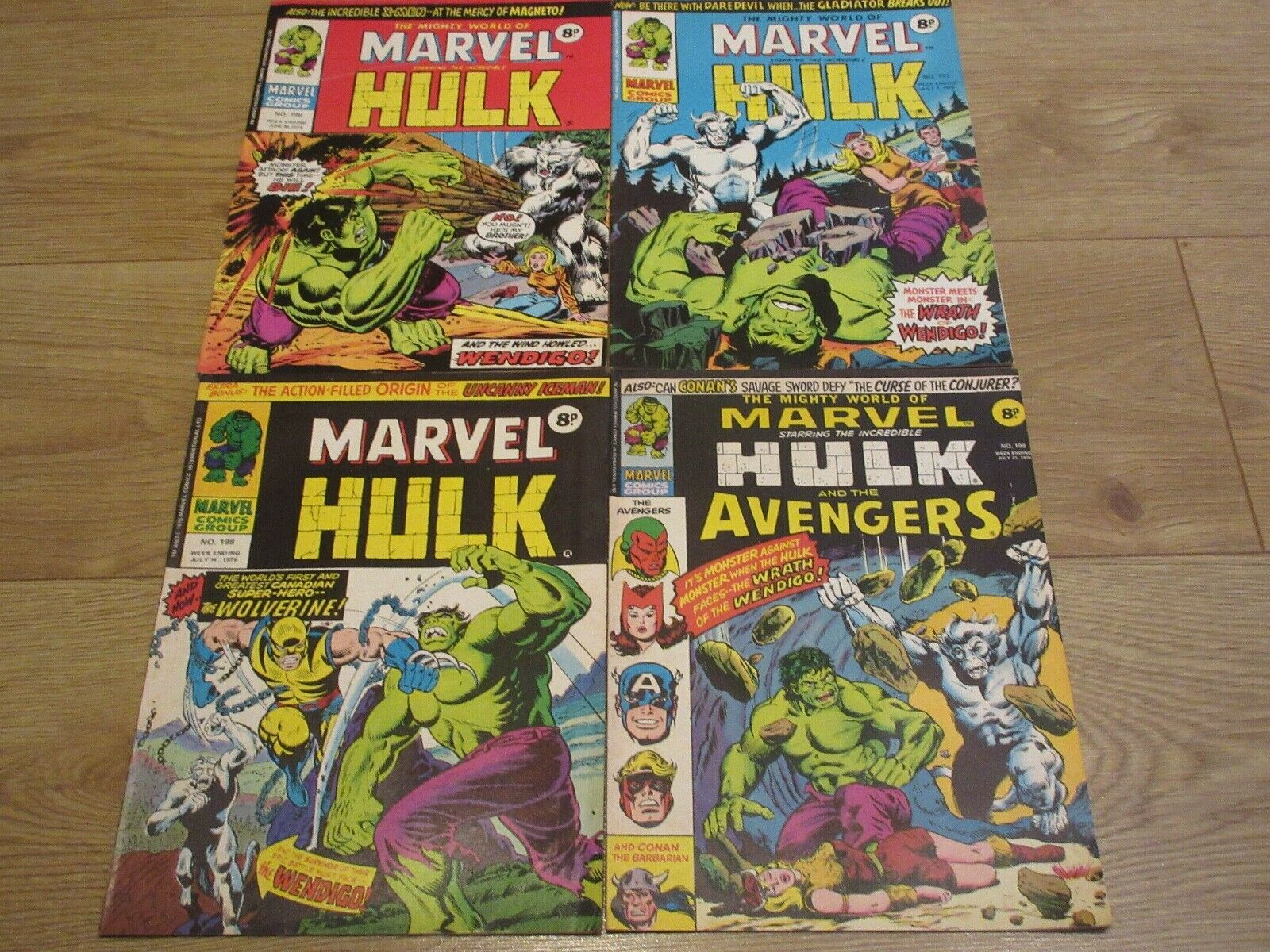 The Mighty World of Marvel, 1st Wolverine  #196,197,198,199, Hulk 1976, FN/FN+