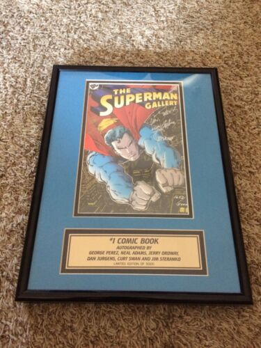 DC Comics Superman Gallery #1, Signed George Perez, Neal Adams, Curt Swan Framed