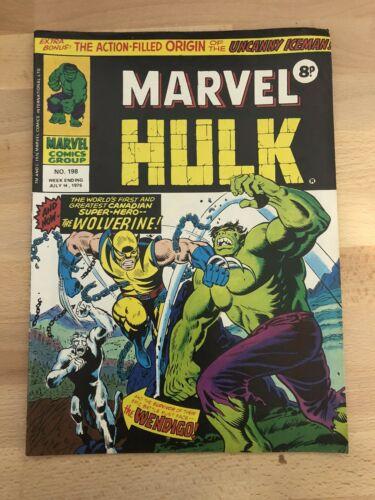 Mighty World Of Marvel #198 Hulk #181 1st App Wolverine In UK 1976 HTF