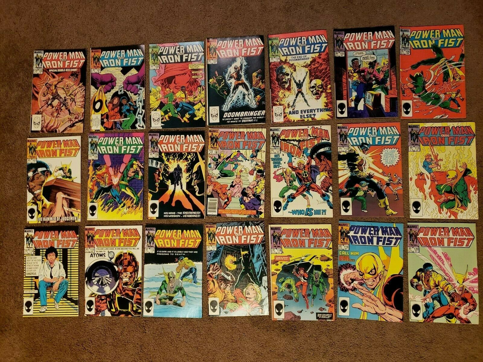 Marvel Comics Power Man and Iron Fist #100 thru 120 complete. Lot of 20 books