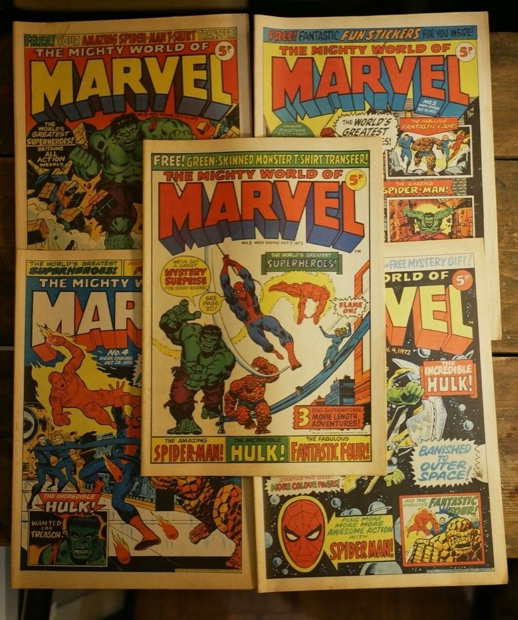 JOB LOT - BUNDLE 5 UK ISSUES OF THE MIGHTY WORLD OF MARVEL #1, 2, 3, 4 & 5 1972