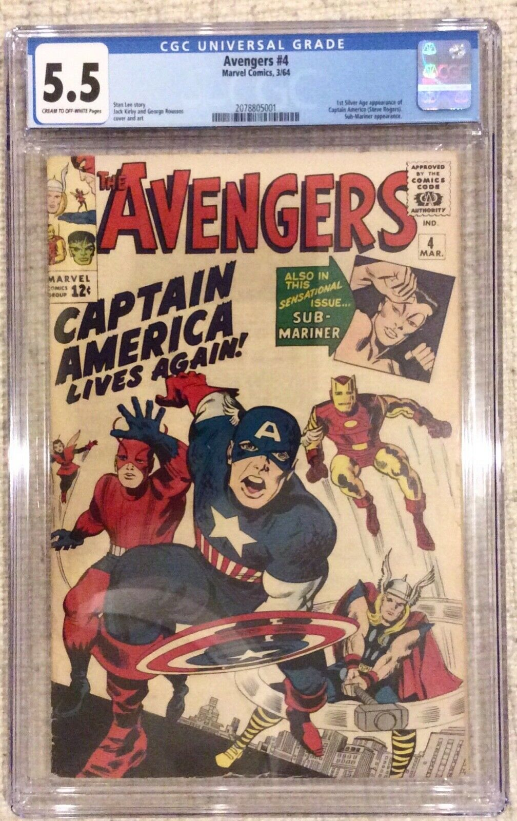 Avengers # 4 CGC 5.5 1st Silver A Captain America 2, 3 Stan Lee Kirby Fantastic