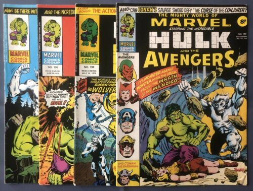 Mighty World Of Marvel #196 197 198 & 199 Hulk Wolverine F/VF Condition 1976 UK