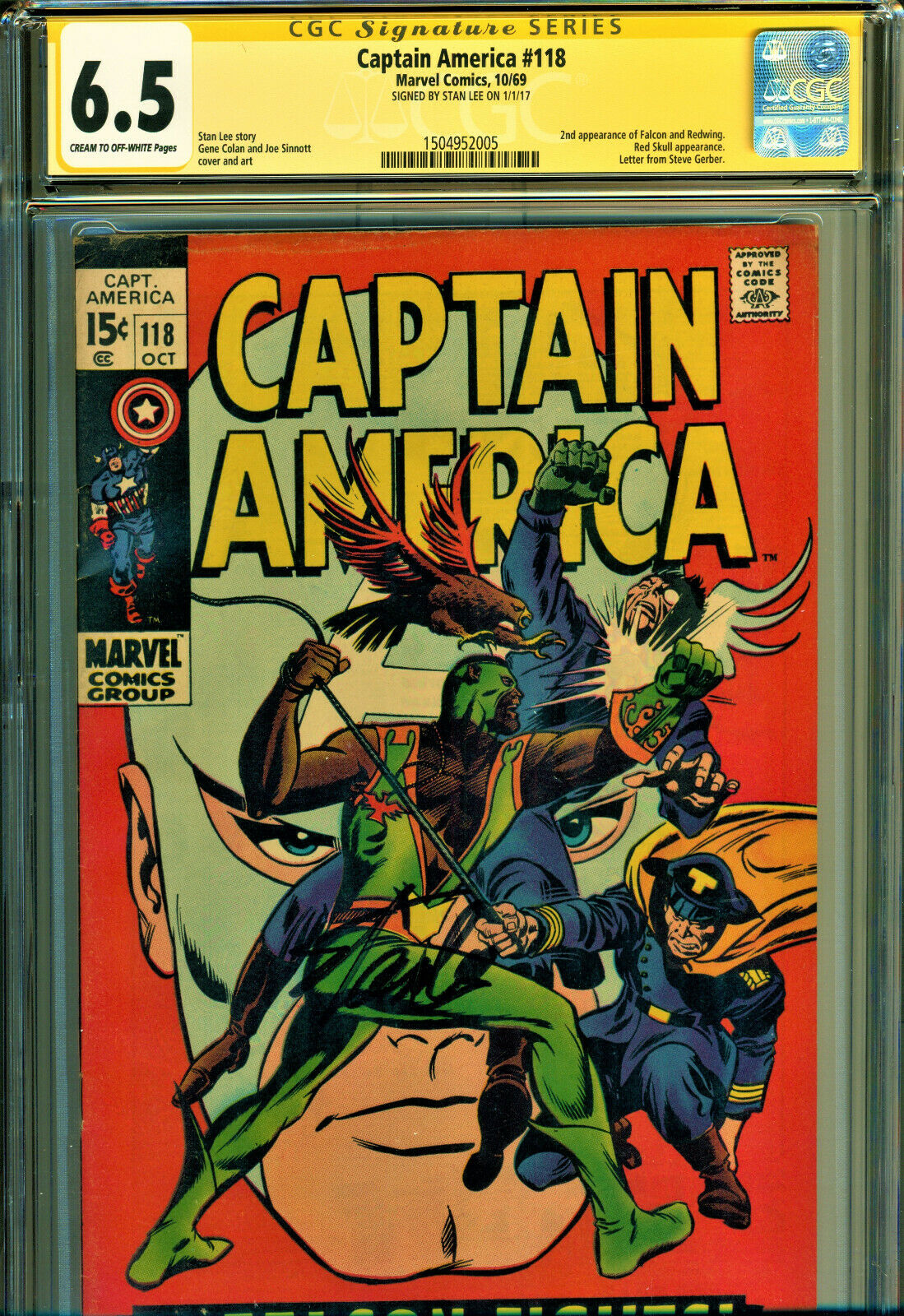 CAPTAIN AMERICA #118 CGC 6.5 SS SIGNED BY STAN LEE 2ND APP OF FALCON-RED SKULL