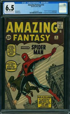 Amazing Fantasy #15 CGC 6.5 FN+ Unrestored Marvel 1st Spider-Man CR/OW Pages