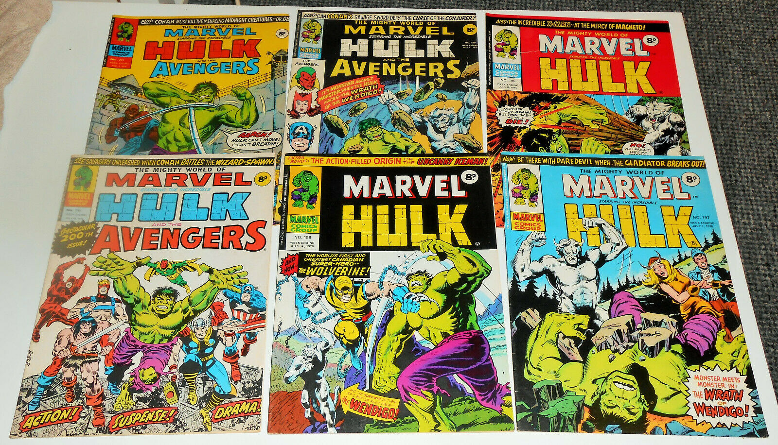 6x MIGHTY WORLD OF MARVEL 198 *COMPLETE SET* 1976 Hulk 180 181 182 1st WOLVERINE