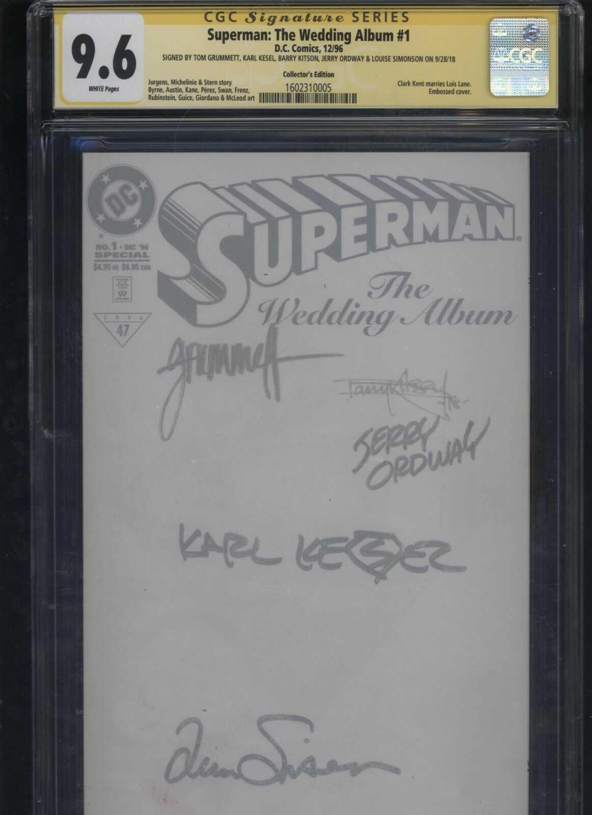 Superman: The Wedding Album #1 CGC 9.6 SS Ordway Kesel Grummett Kitson Simonson