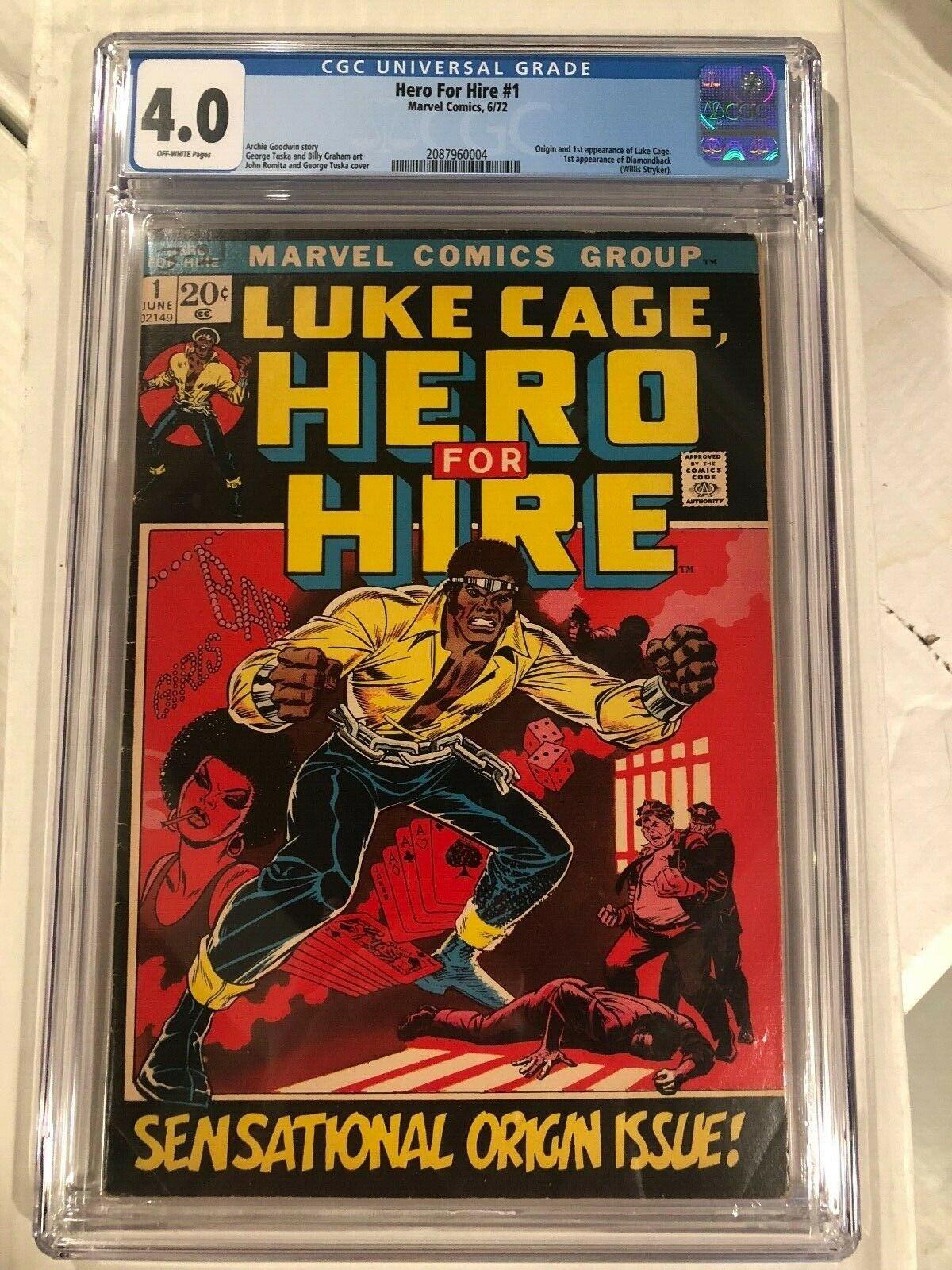 Hero For Hire #1 CGC 4.0 OW origin & 1st Luke Cage 1972 Marvel key issue