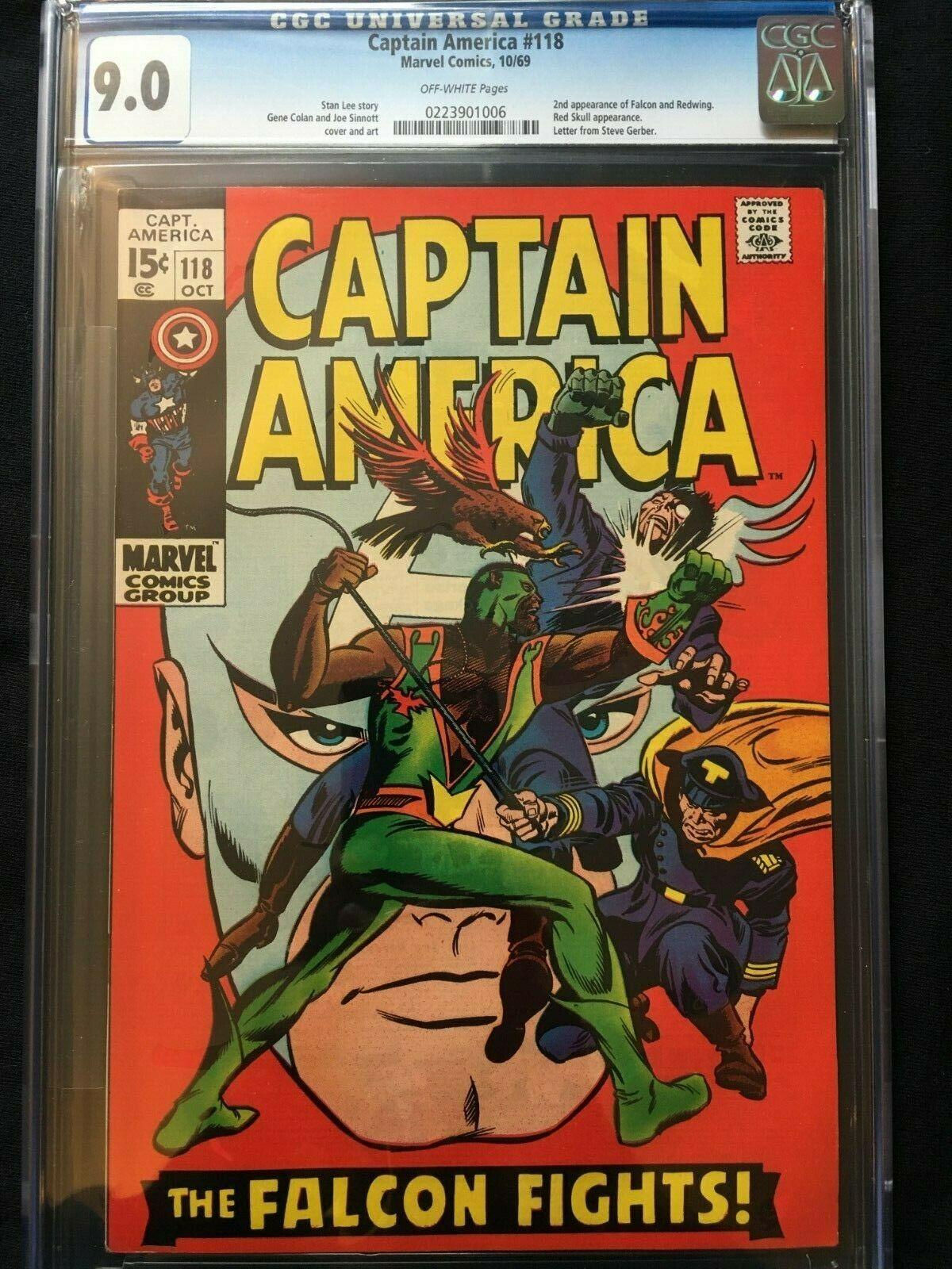 Captain America #118 CGC 9.0 - 2nd App Falcon & Redwing - 1969