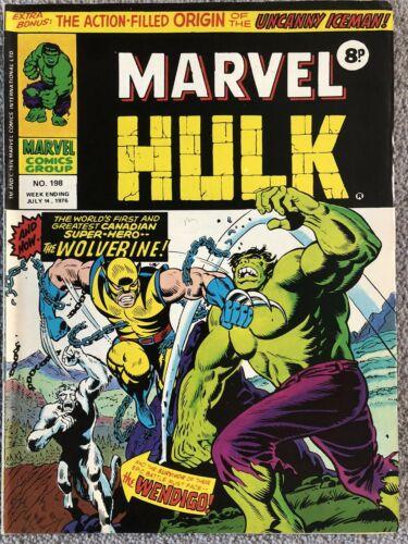 MIGHTY WORLD OF MARVEL Comic # 198 1976 -British 1st App Wolverine UK - Hulk 181
