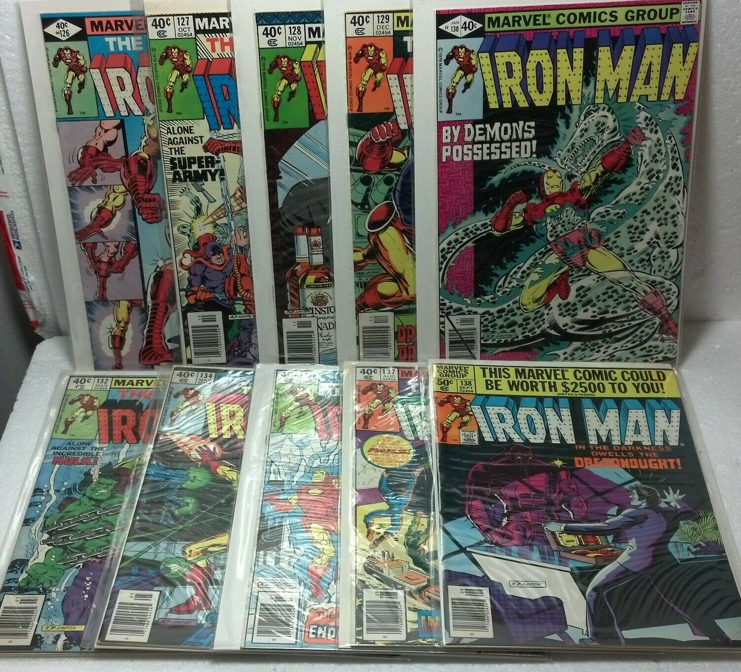 "Marvel 10pk *E* ""Invincible Iron Man"" #126,127,128,129,130,132,134,136,137,138VG"