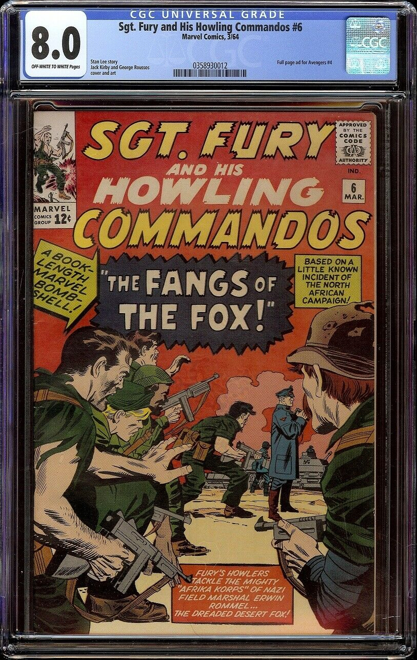 Sgt Fury # 6 CGC 8.0 OW/W (Marvel, 1964) Jack Kirby cover, Ad for Avengers # 4