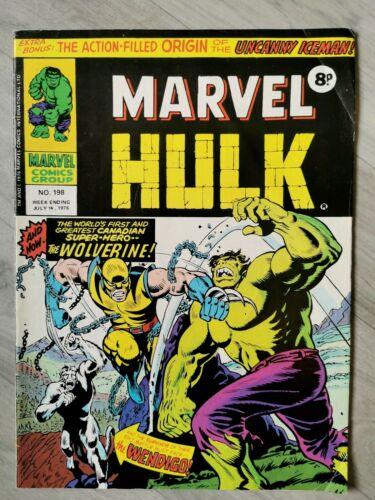 Mighty World Of Marvel #196 197 198 & 199 Hulk Wolverine Good Condition 1976 UK