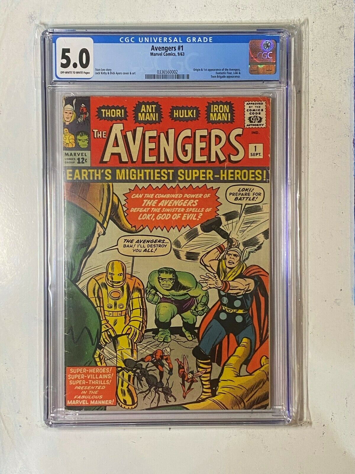 The Avengers #1 CGC 5.0 (Oct 1963, Marvel) | White - Off White Pages No Reserve
