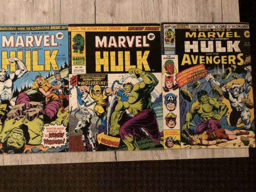 MIGHTY WORLD OF MARVEL 197 198 199 1st UK Wolverine Reprints HULK 181
