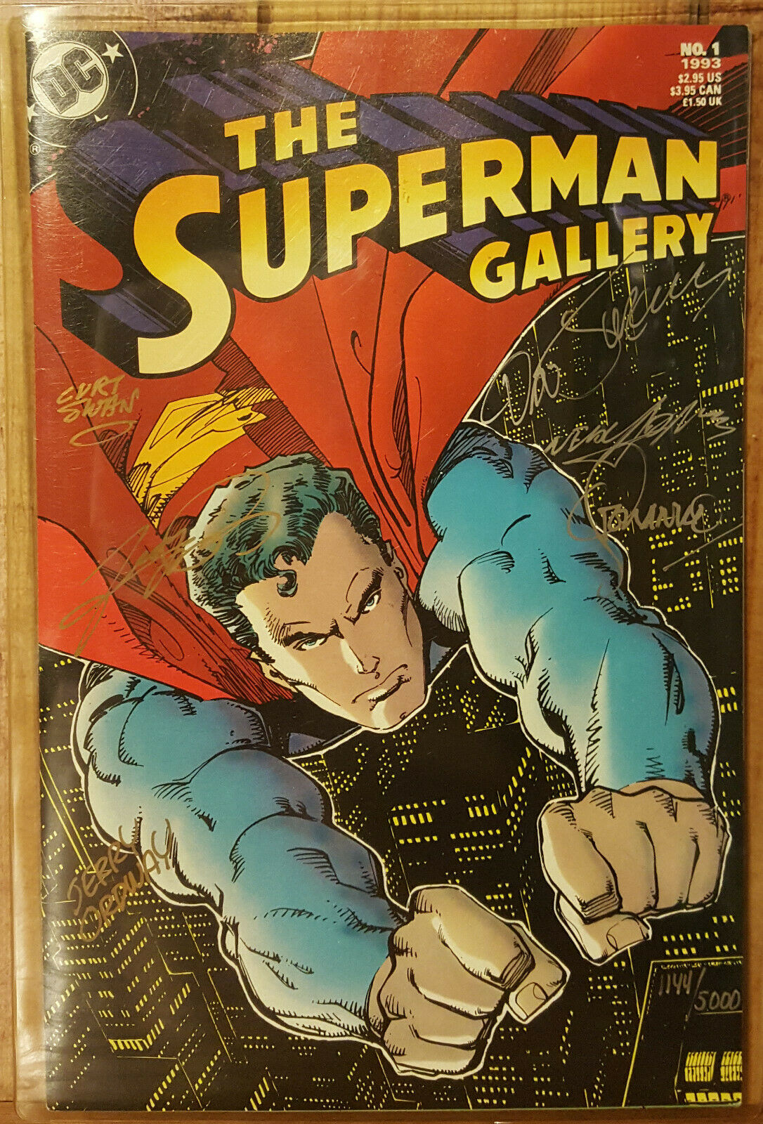 THE SUPERMAN GALLERY #1 COA # 1144 SIGNED BY NEAL ADAMS GEORGE PEREZ CURT SWAN