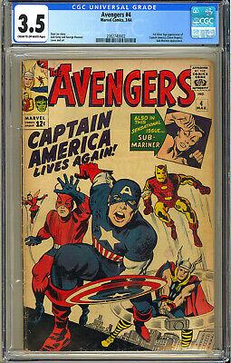 Avengers #4 1st Silver Age App. Captain America Kirby Marvel Comic 1964 CGC 3.5