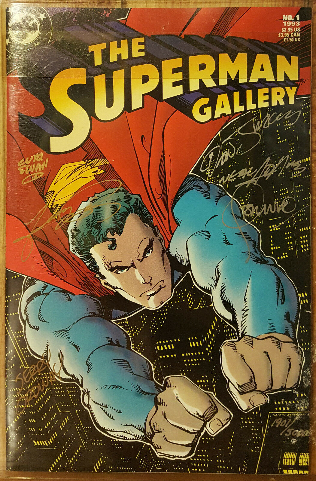 THE SUPERMAN GALLERY #1 COA # 1901 SIGNED BY NEAL ADAMS GEORGE PEREZ CURT SWAN