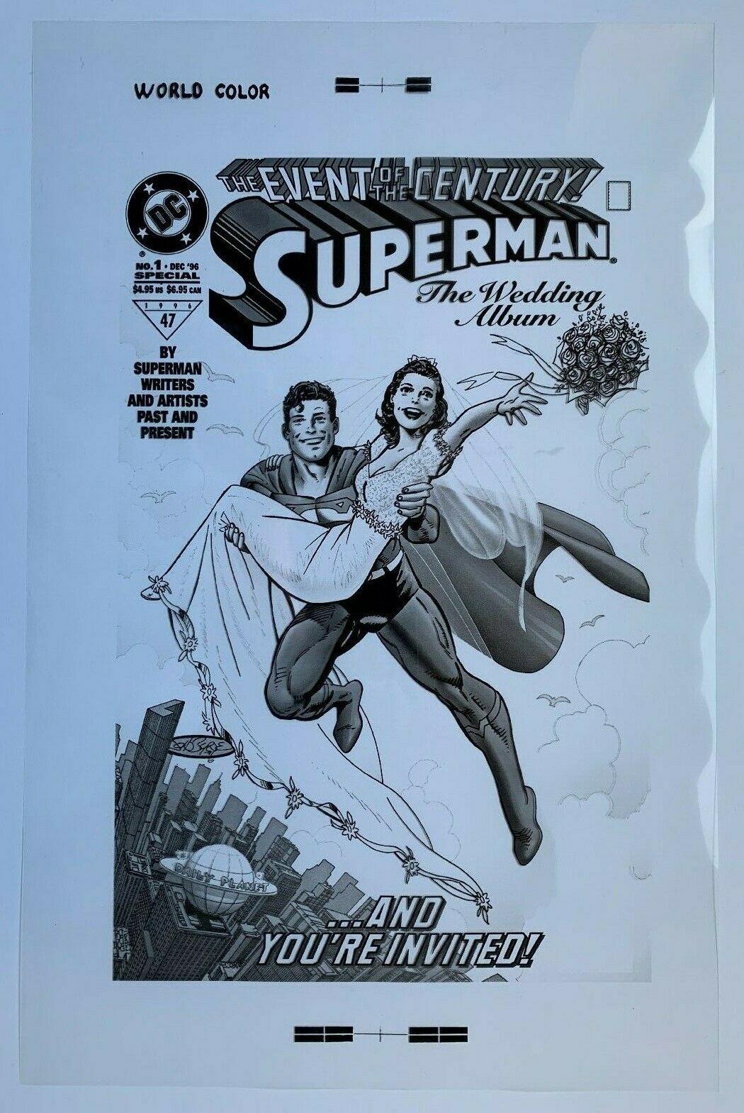 Production Art SUPERMAN The Wedding Album #1 cover, JOHN BYRNE art, 11x17