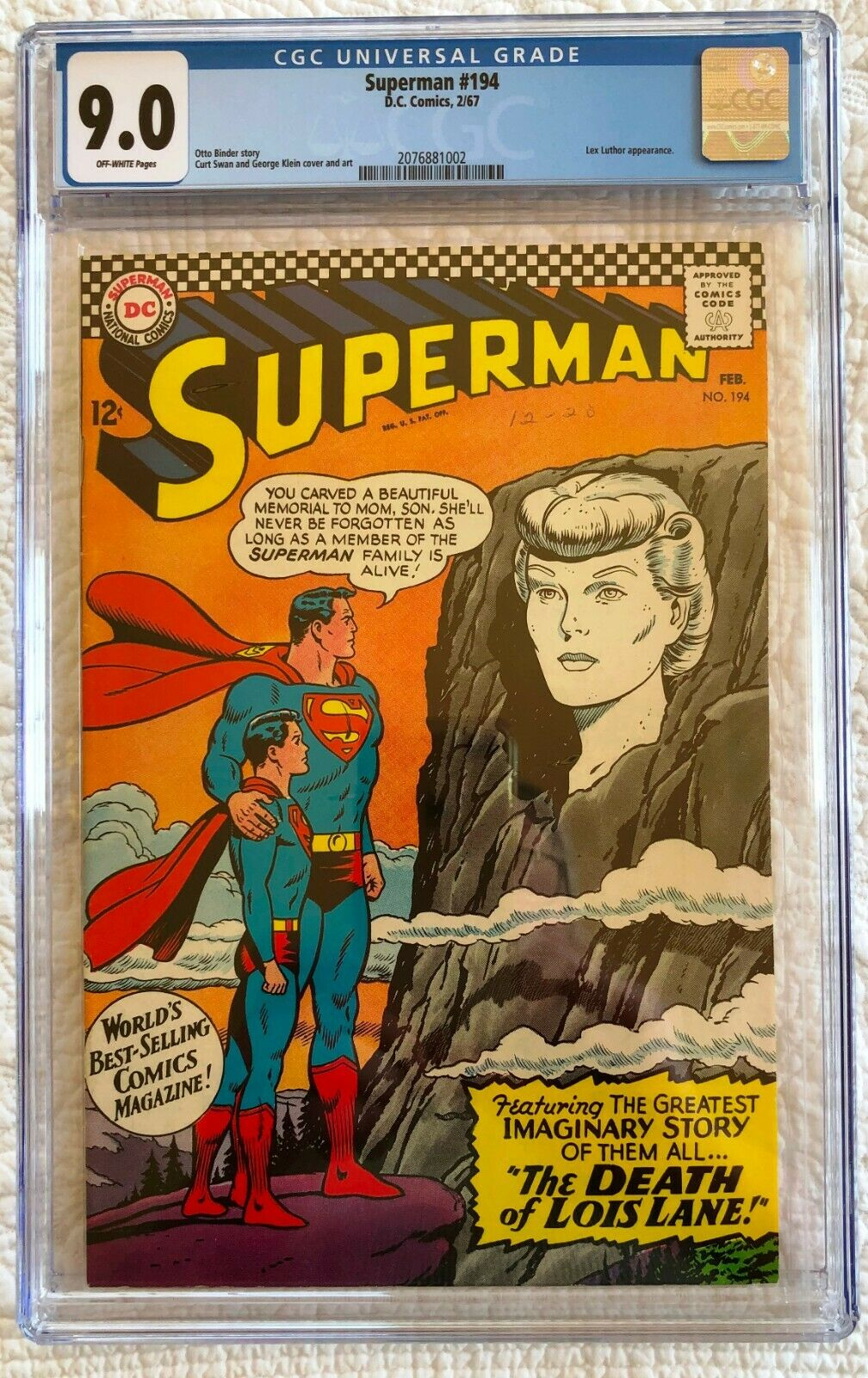 Superman # 194; Feb. 1967; Silver Age; CGC 9.0; VF/NM; Death of Lois Lane