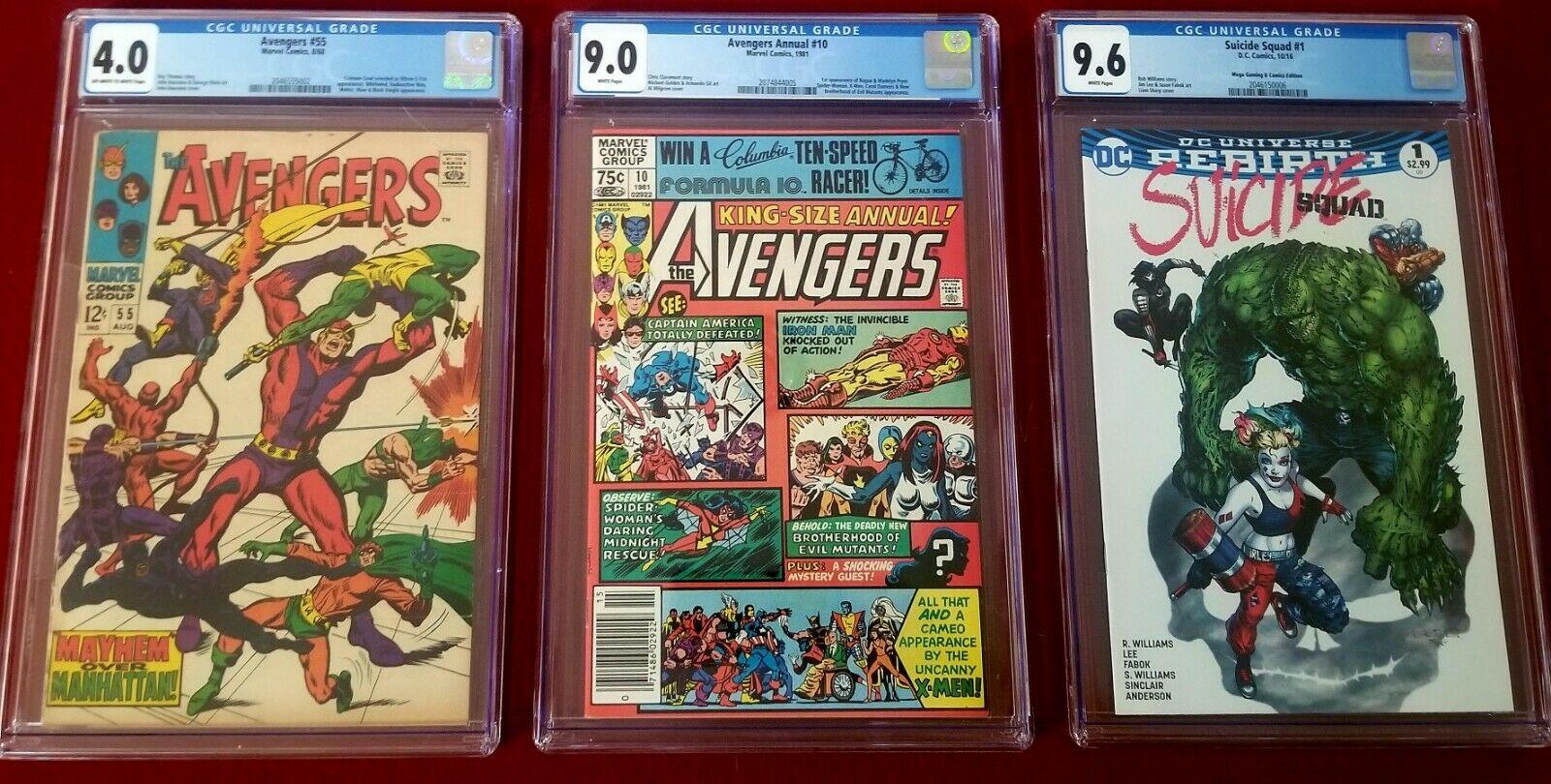 Avengers Annual#10 CGC-9.0 FIRST ROGUE + AVENGERS 55 CGC-1ST ULTRON+HARLEY QUINN