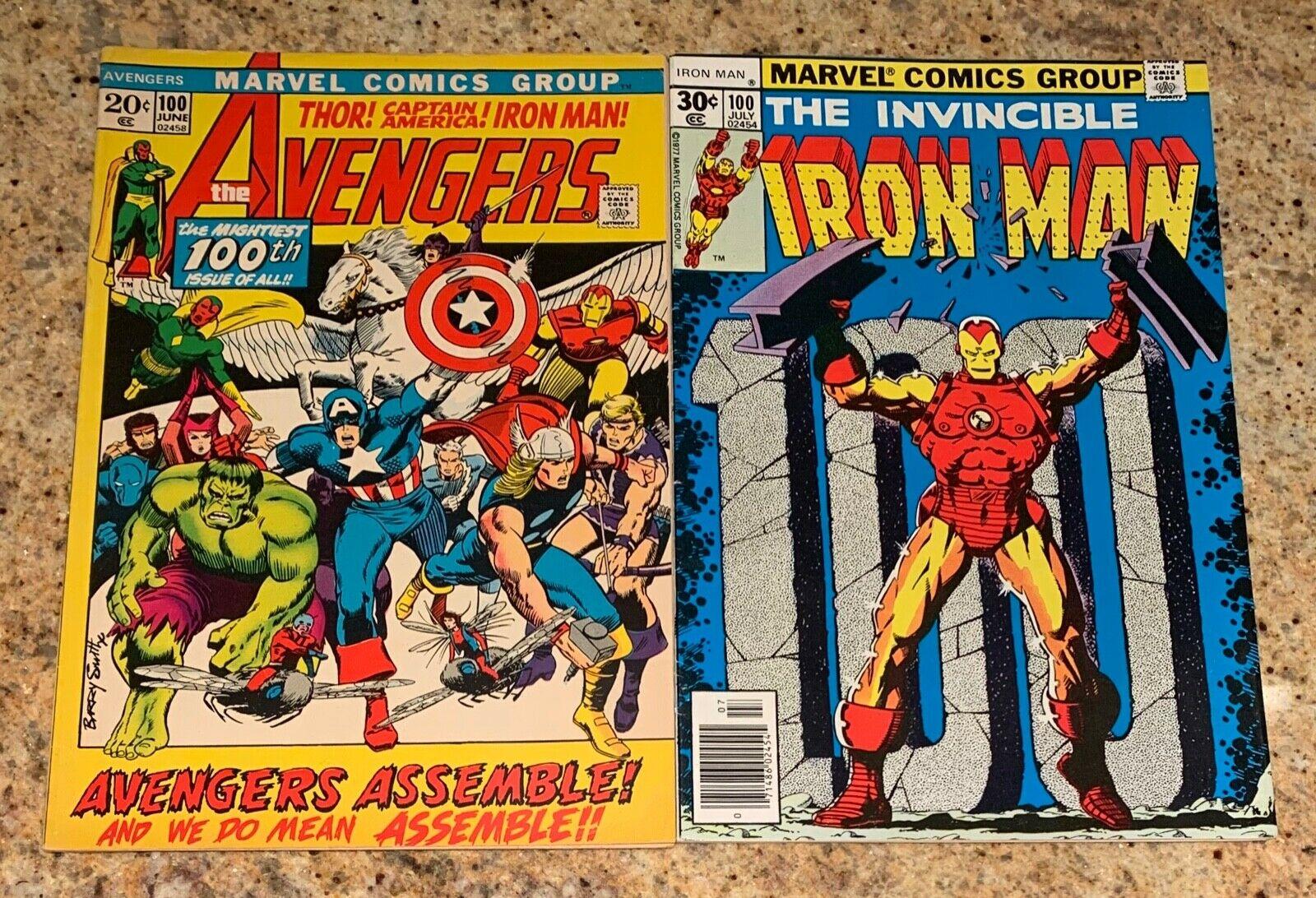 THE AVENGERS #100  IRON MAN #100 VF MARVEL BRONZE AGE CLASSIC COMICS 1972  1977