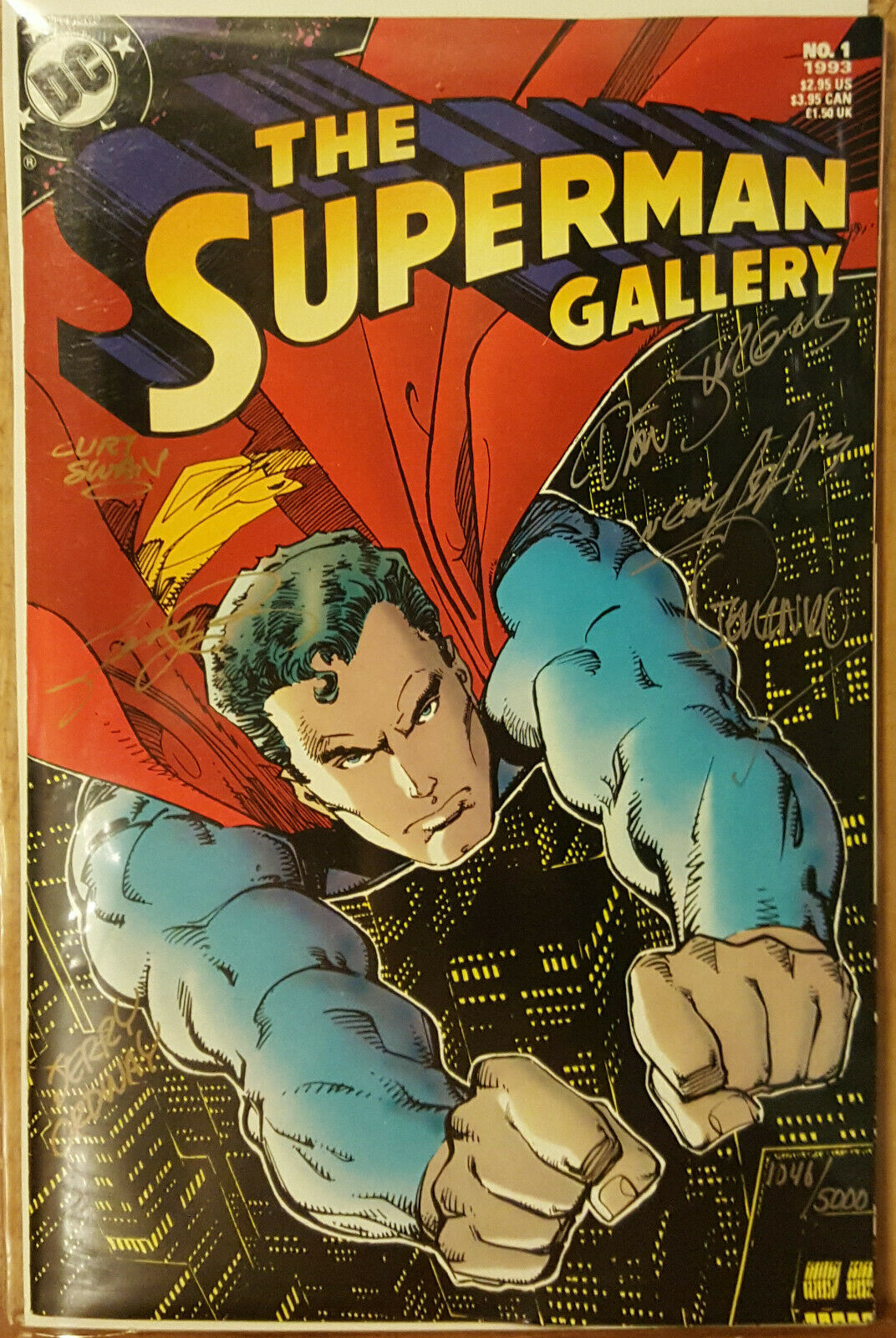 THE SUPERMAN GALLERY #1 COA # 1046 SIGNED BY NEAL ADAMS GEORGE PEREZ CURT SWAN