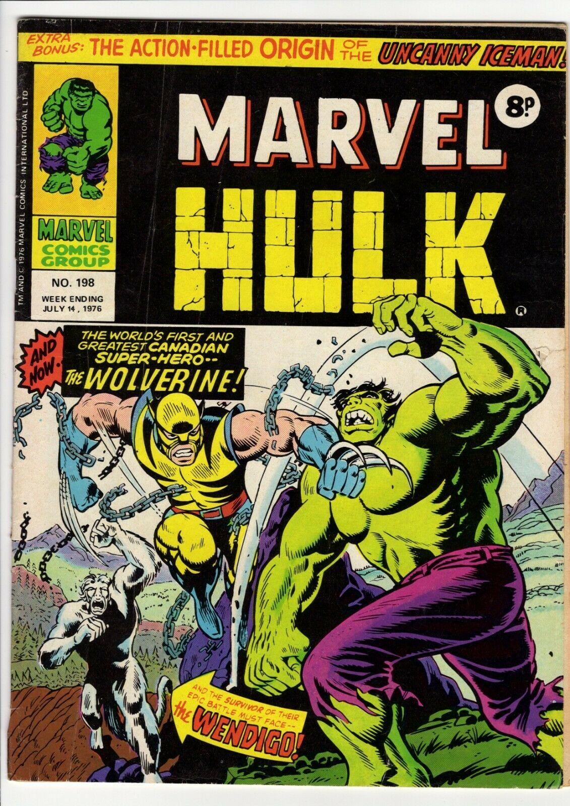 Mighty World of Marvel 196, 197, 198 (1976):1st Wolverine - Hulk 181 - UK Marvel