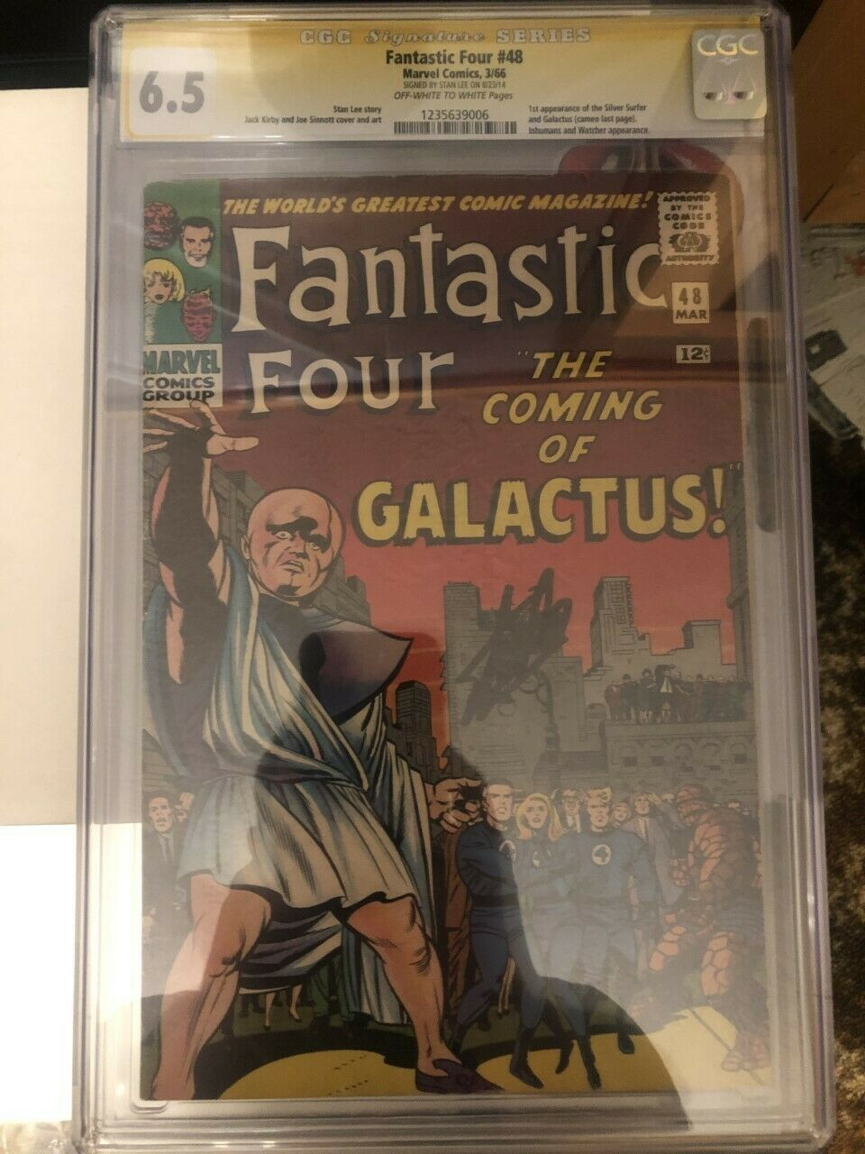 Fantastic Four 48 CGC 6.5 SS - Signed by Stan Lee - First App Galactus (1966)