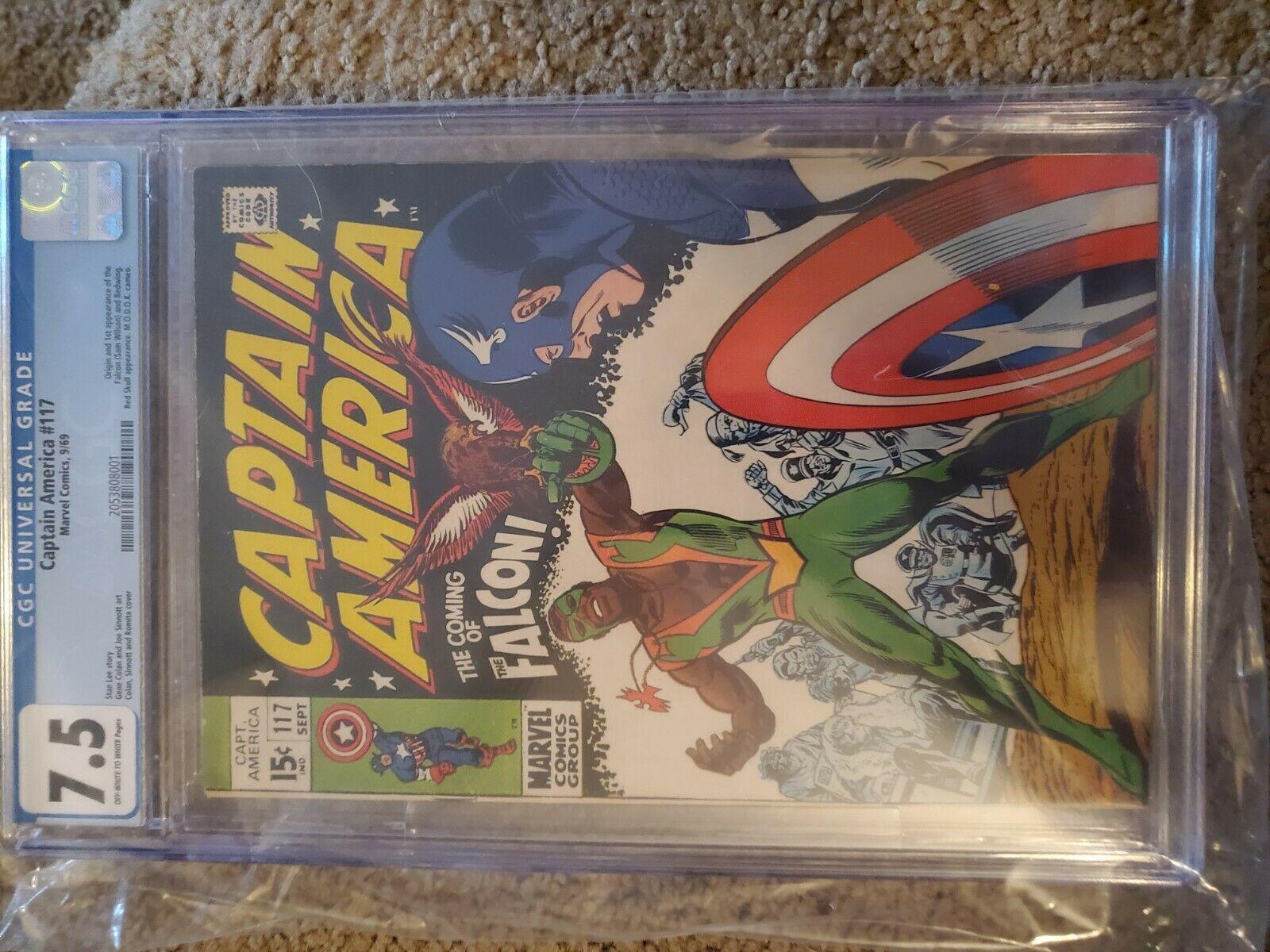 Captain America 117 CGC 7.5 + 118 CGC 6.0 1st + 2nd app + Origin Falcon Redwing