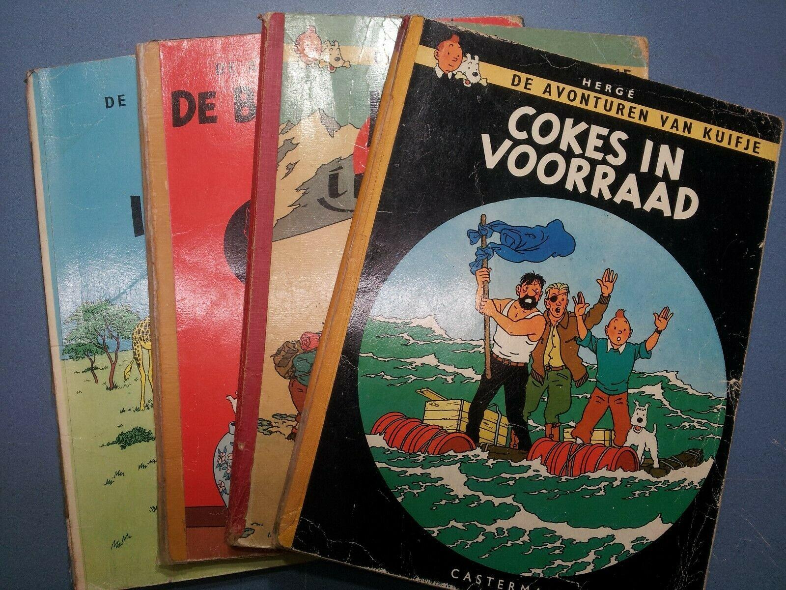 LOT DE 4 ALBUMS DE TINTIN B30EN NEERLANDAIS(KUIFJE IN TIBET, IN AFRIKA….)