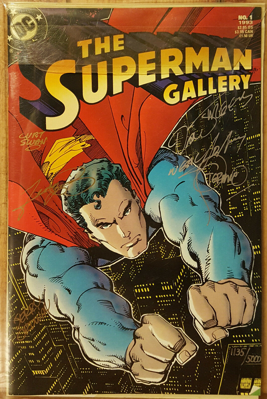 THE SUPERMAN GALLERY #1 COA # 1135 SIGNED BY NEAL ADAMS GEORGE PEREZ CURT SWAN