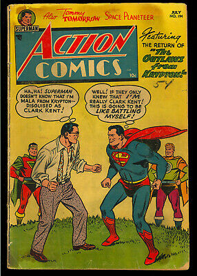 Action Comics #194 Nice Unrestored Pre-Code Superman DC Comic 1954 GD-VG