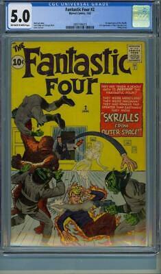 Fantastic Four #2 CGC 5.0 OW-W 1st-Skrulls-2nd-Fantastic-Four-Marvel-1962