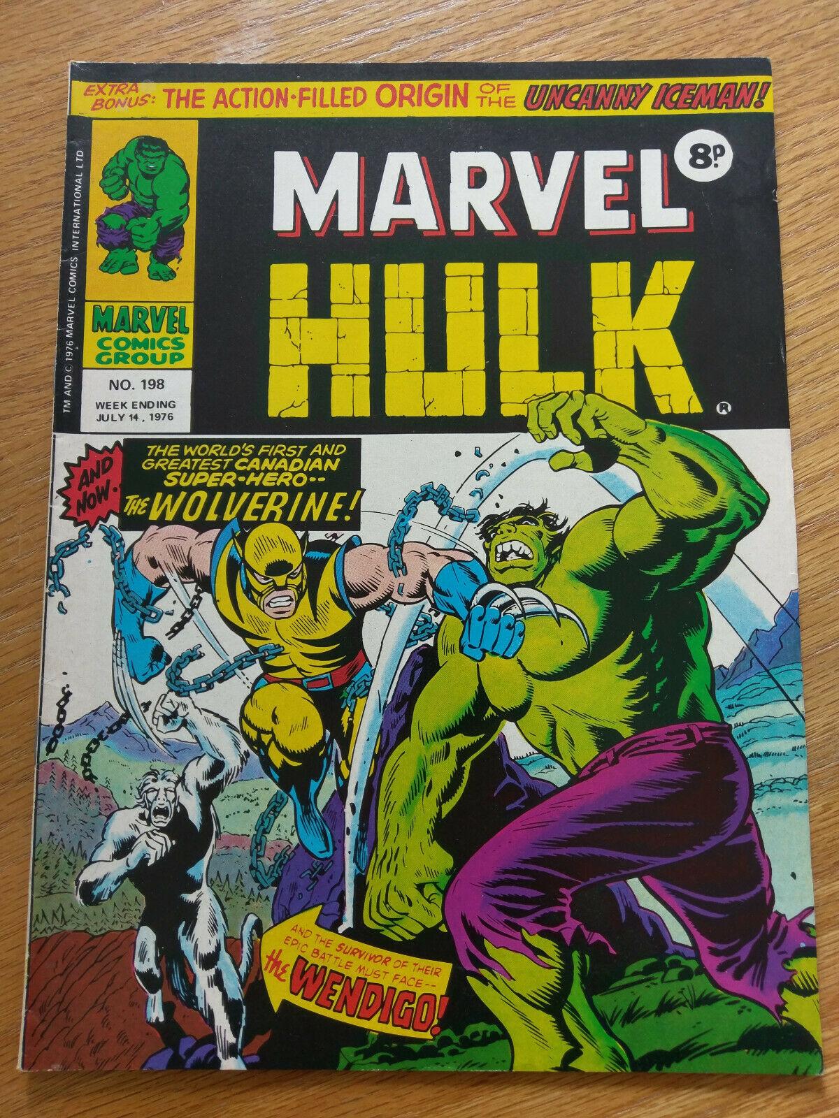 MIGHTY WORLD OF MARVEL # 198 - British Comic 1st App Wolverine UK - Hulk 181