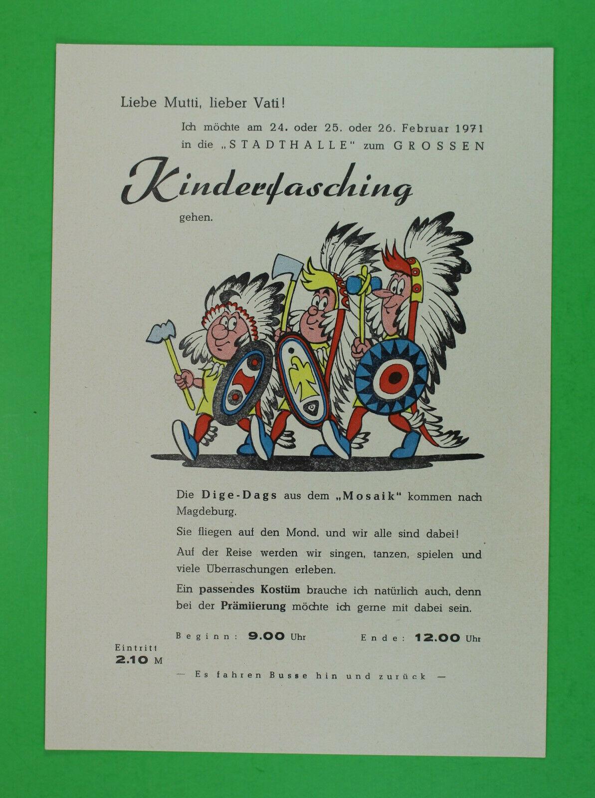WIPA Mosaik Digedags Beilage Einlage Nr. 168 Werbung Kinderfasching Magdeburg