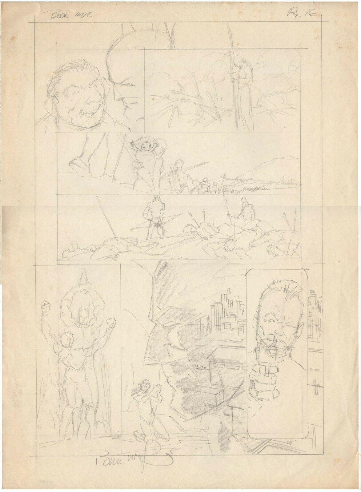 Berni Wrightson Original pencil layouts for BATMAN The Cult .