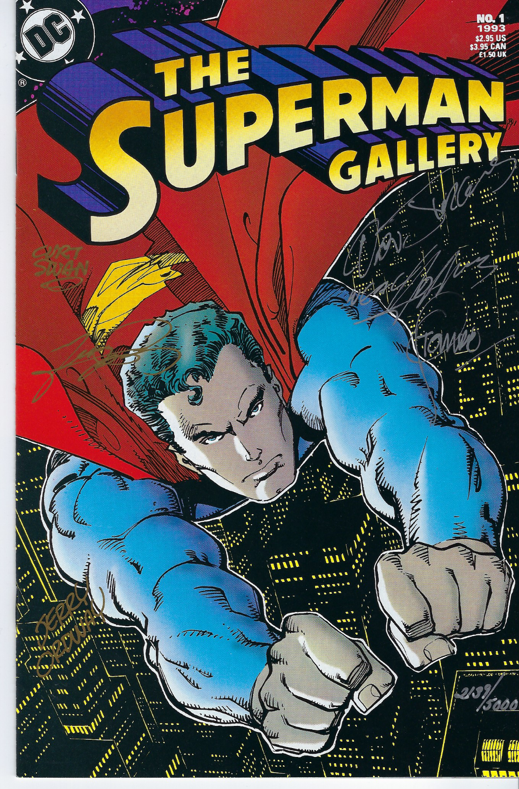 DC 1993 The Superman Gallery autographed by Adams, Swan, Jurgens, + 3 more COA