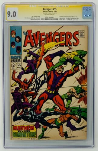 Avengers #55 CGC 9.0 Marvel Comics 1968. Signed by Stand Lee First Ultron App