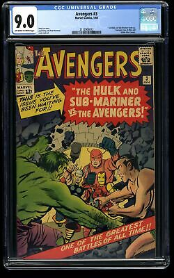 Avengers #3 CGC VF/NM 9.0 Off White to White Marvel Comics Thor Captain America