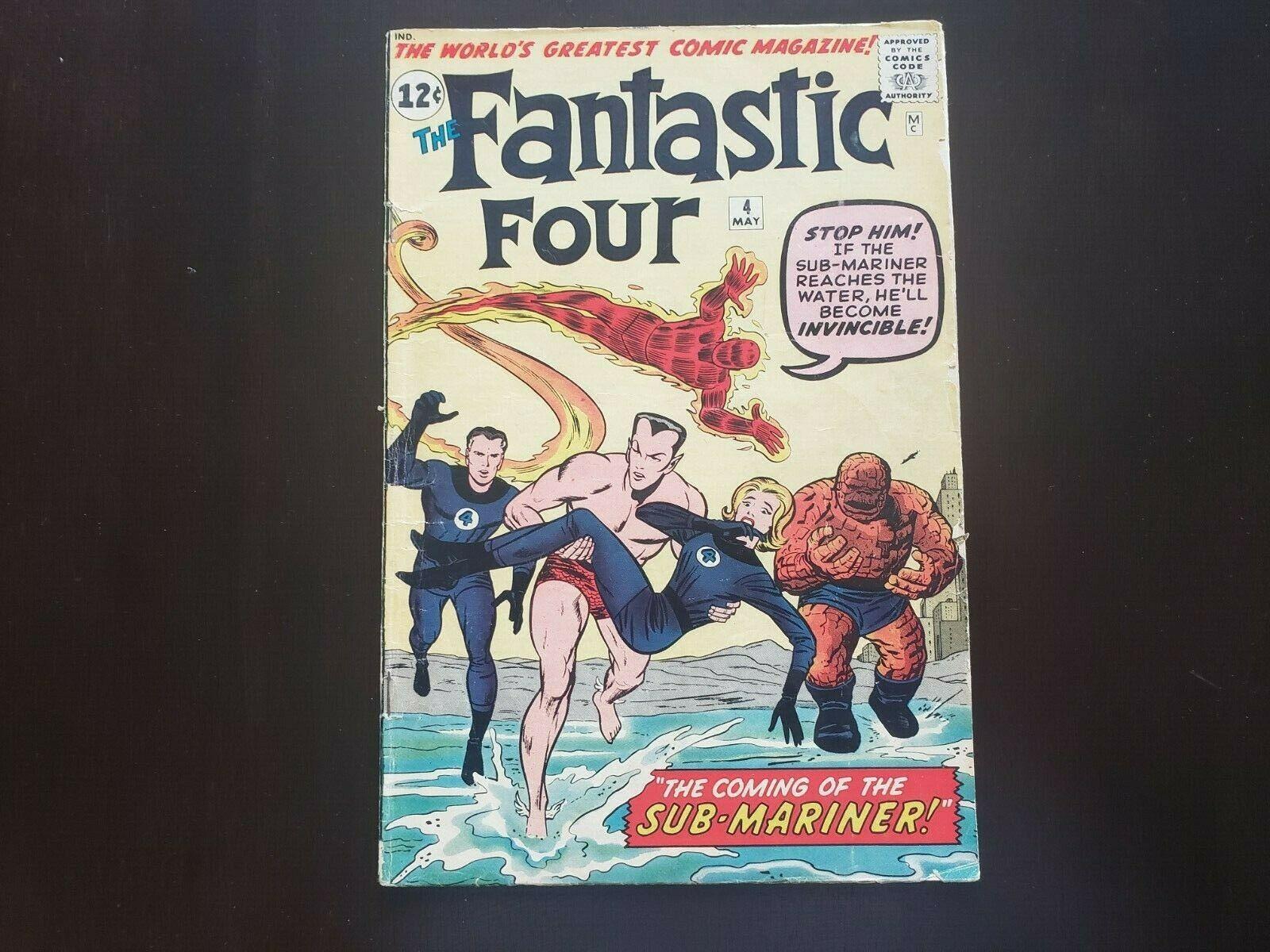 Fantastic Four #4 1961 Marvel Namor FIRST SILVER AGE APP 4.0 Gorgeous .99 Start