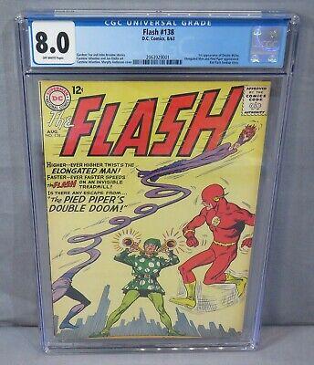 THE FLASH #138 (Dexter Myles 1st app, Kid Flash story) CGC 8.0 VF DC Comics 1963